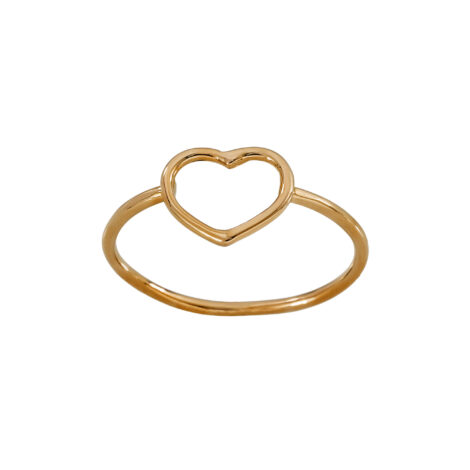 Gold Wire Small Heart Ring – Pink Gold 18k