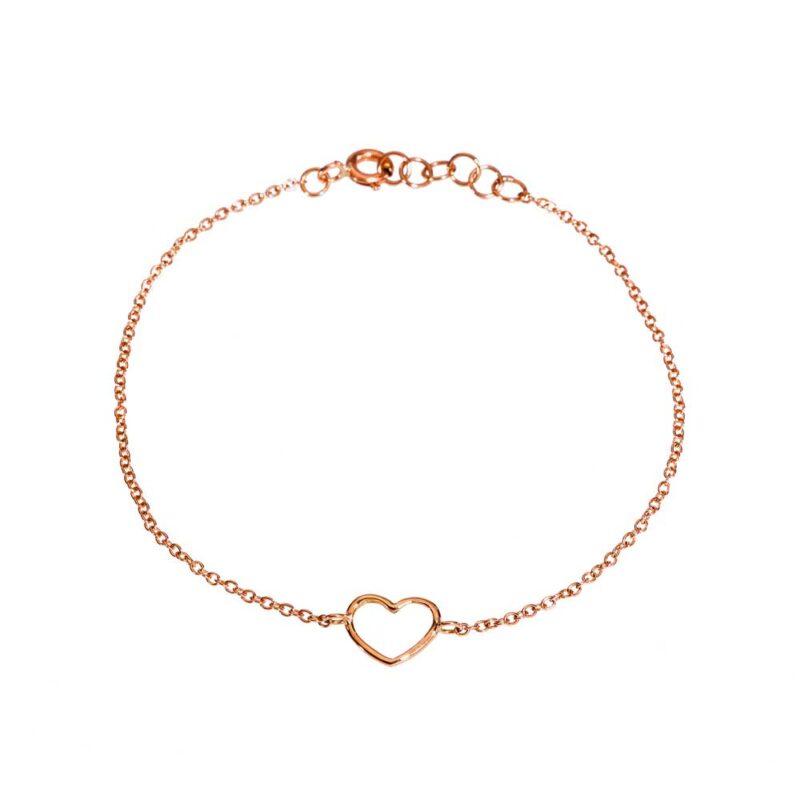 Bracciale catena con cuore piccolo a filo