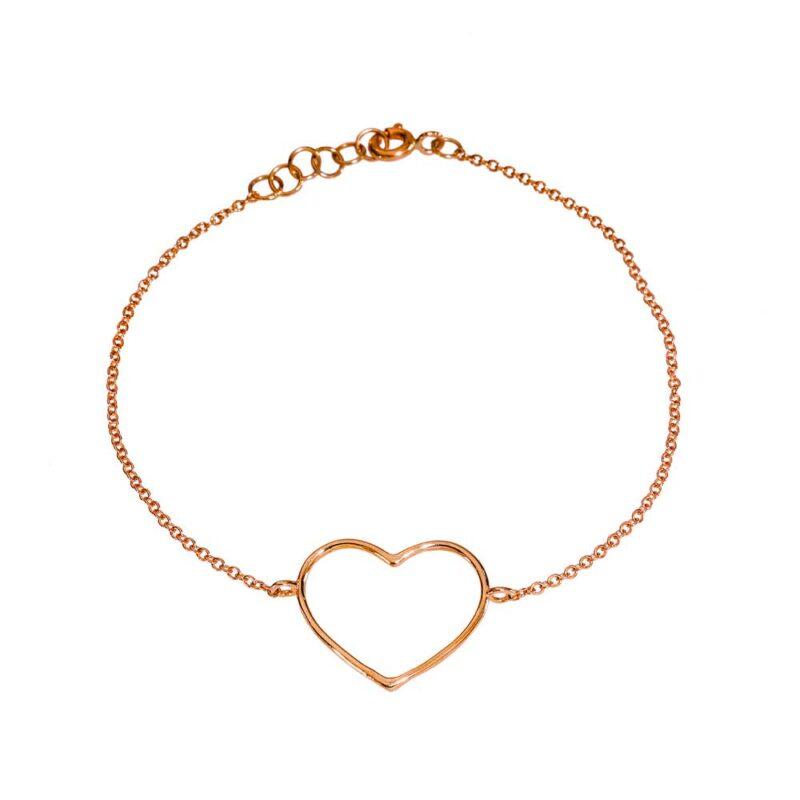 Bracciale catena con cuore grande a filo