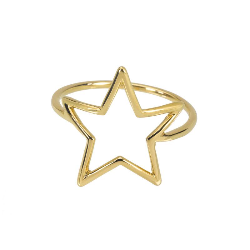 Anello con stella a filo piatto