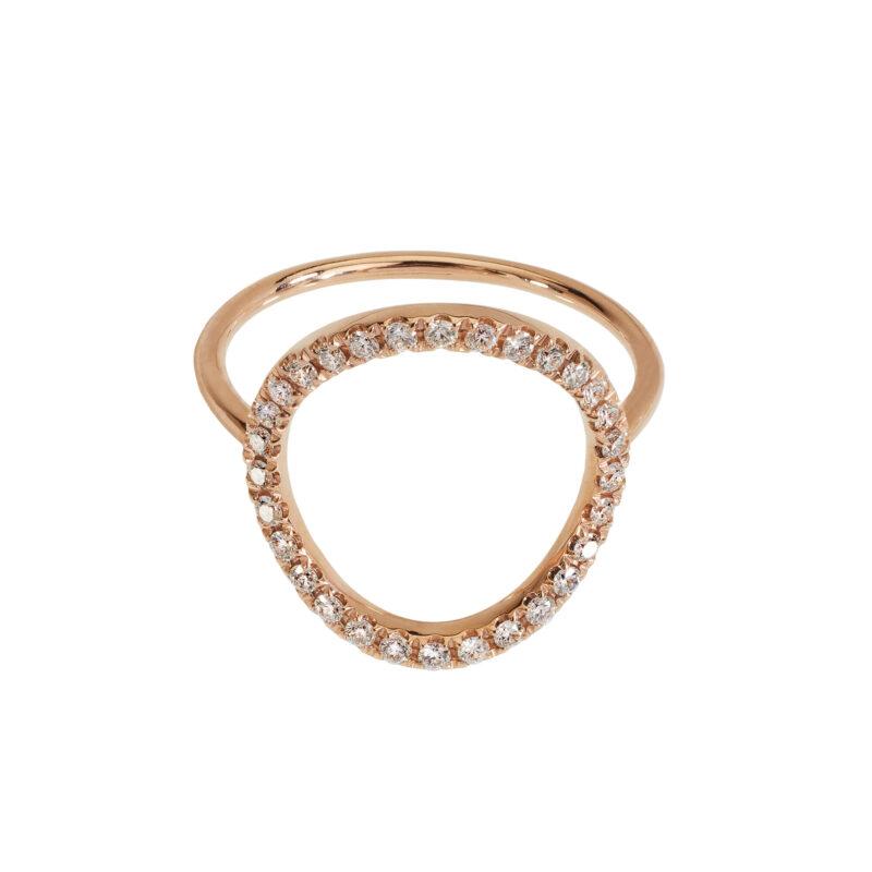 Anello con bolla a filo e diamanti bianchi, ct. 0,30
