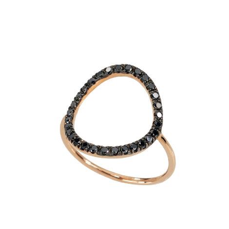 Wire Bubble And Black Diamonds Ring, Ct. 0,45