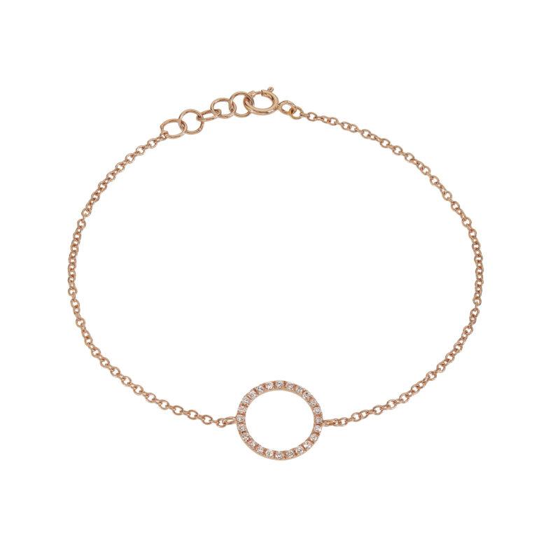 Bracciale a catena con bolla a filo e diamanti, ct. 0,12