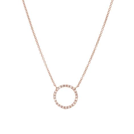 Collana Con Bolla A Filo E Diamanti Bianchi, Ct. 0,12 – Oro Rosa 18k