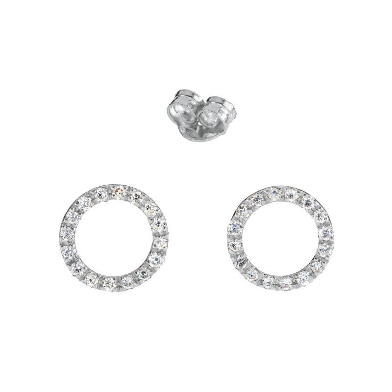 Orecchini tappabuco con bolla a filo e diamanti bianchi, ct. 0,16