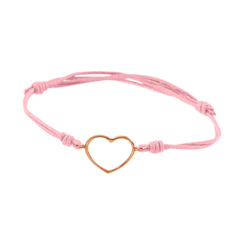 Cord bracelet with gold wire medium heart