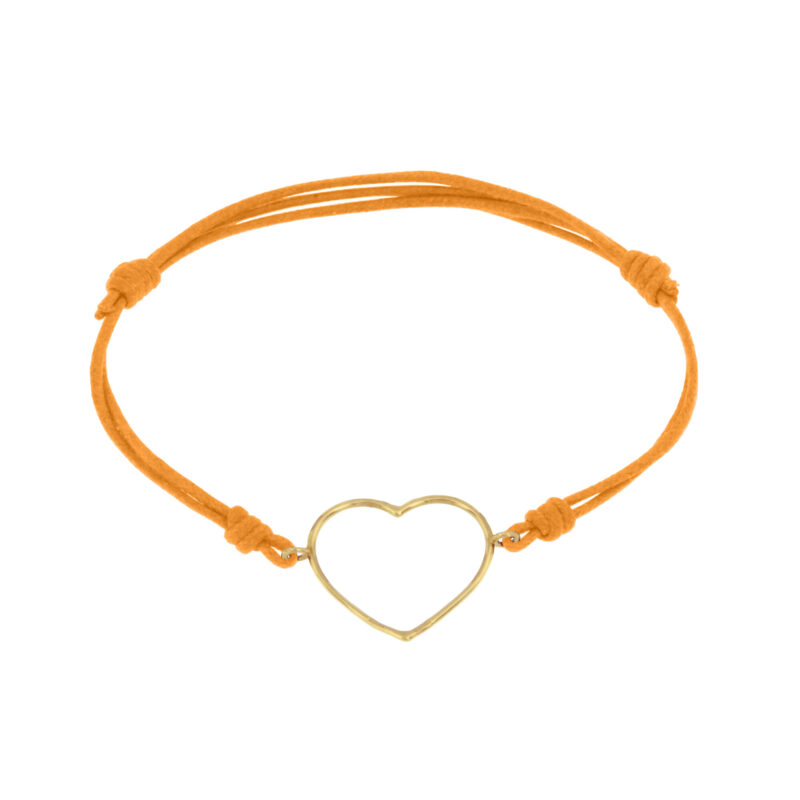 Cord bracelet with gold wire large heart