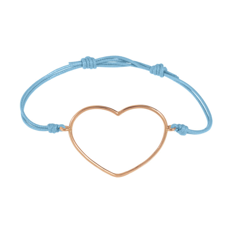 Cord bracelet with thick gold wire large heart