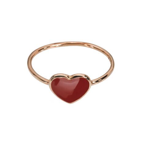 Red Enamel Heart Ring