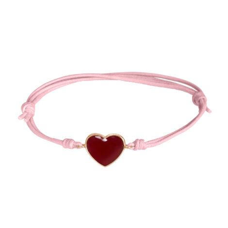 Red Enamel Heart Cord Bracelet