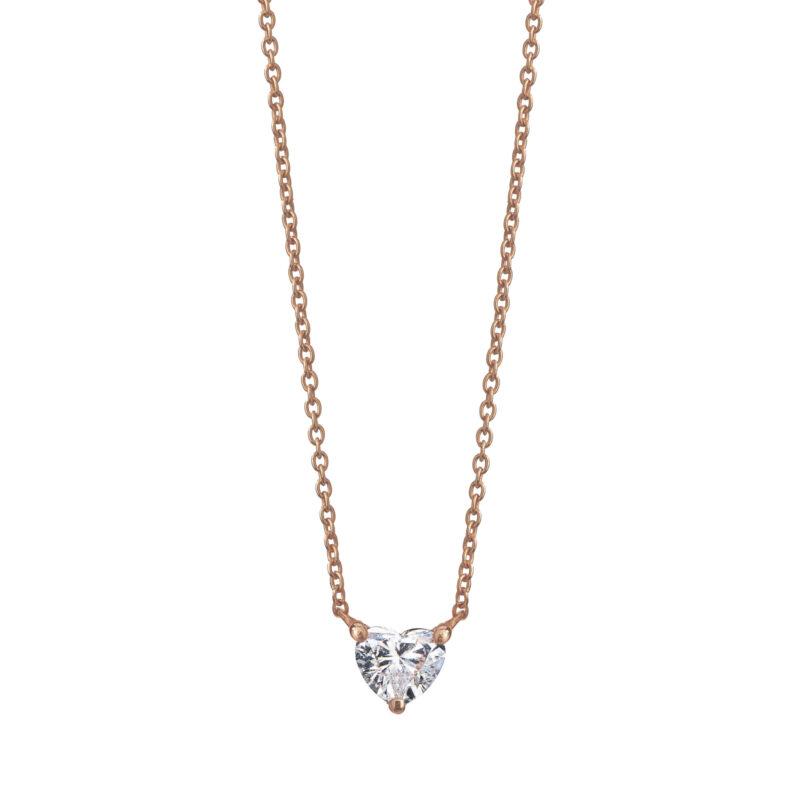 Collana con diamante a cuore, ct. 0,20