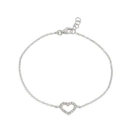 Heart And Diamonds Chain Bracelet, Ct. 0,12 – White Gold 18k