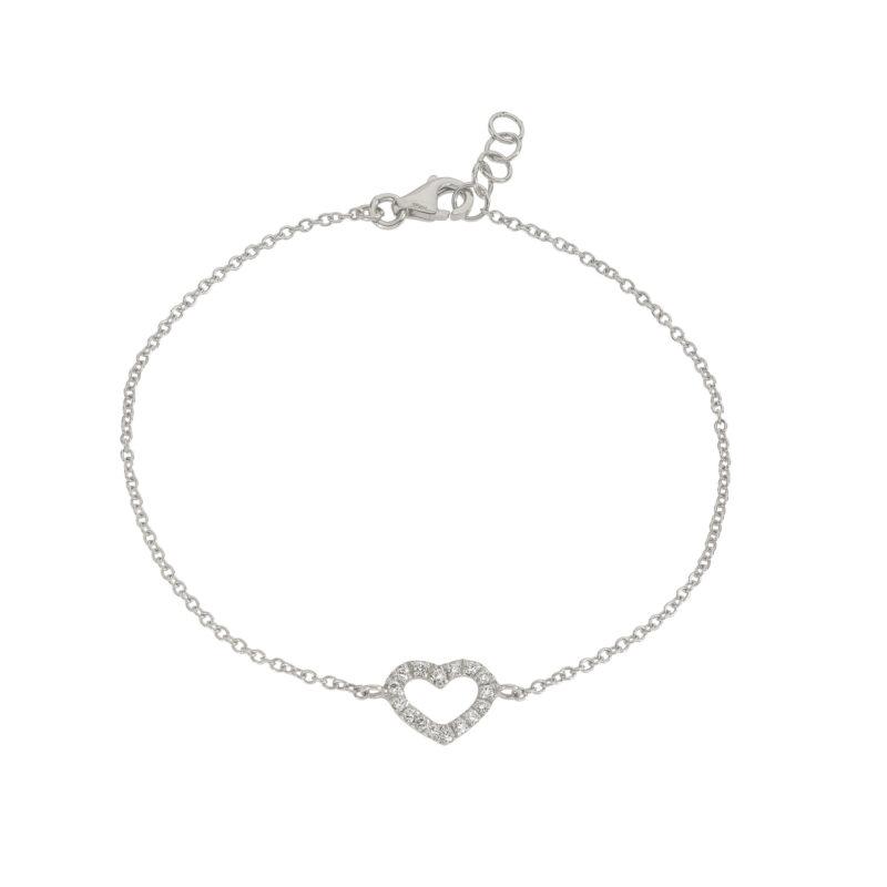 Bracciale catena con cuore e diamanti, ct. 0,12