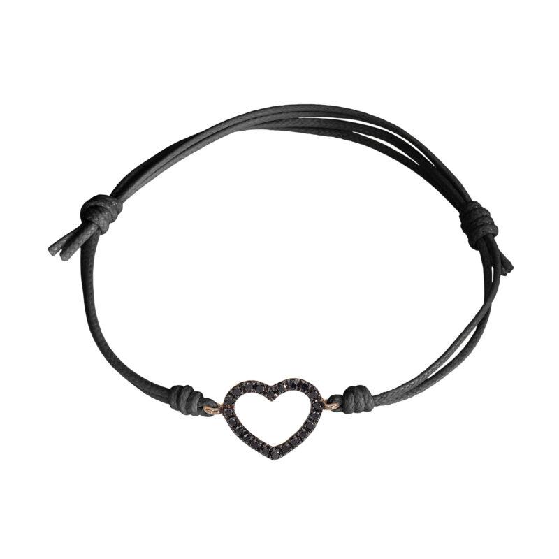 Bracciale cordino con cuore a filo e diamanti neri, ct. 0,16