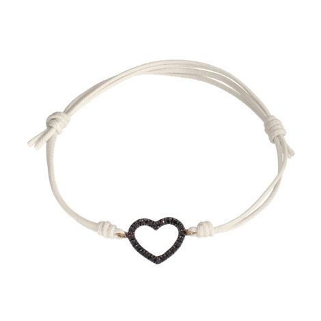 Heart Wire And Black Diamonds Cord Bracelet, Ct. 0,16