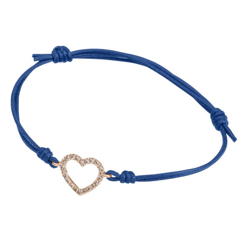 Heart wire and white diamonds cord bracelet, ct. 0,16