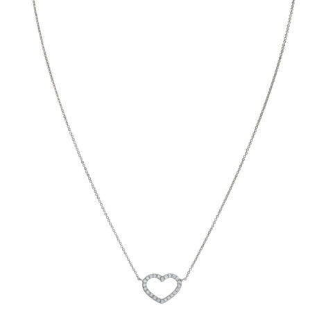 Necklace With Gold Wire And Diamonds Heart Ct. 0,18