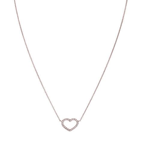 Collana Con Cuore A Filo E Diamanti Ct. 0,18 – Oro Rosa 18k