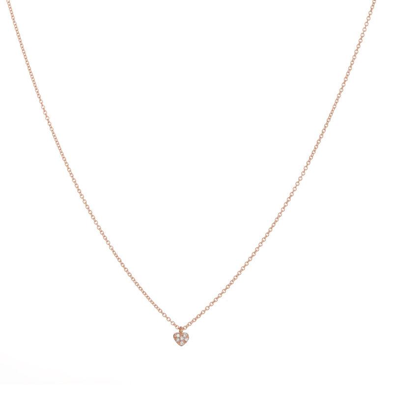 Collana con cuore pavè e diamanti bianchi, ct. 0,04