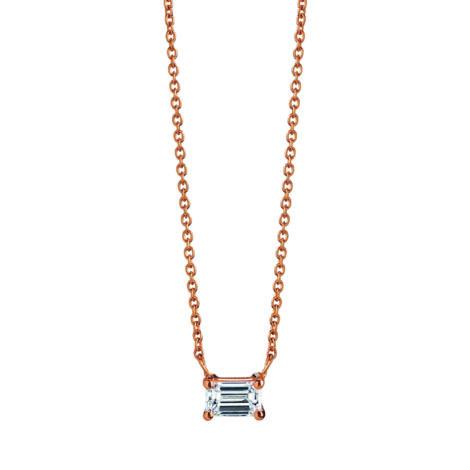 Emerald Cut Diamond Necklace, Ct. 0,20