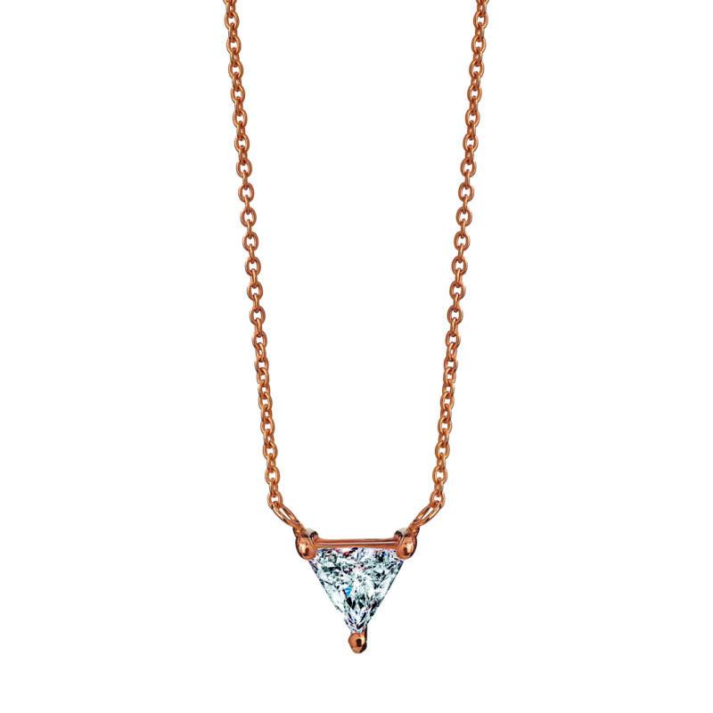 Collana con diamante triangolare, ct. 0,20