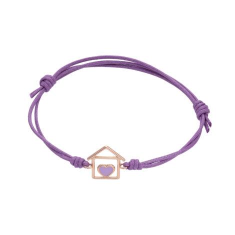 House And Lilac Enamel Heart Cord Bracelet