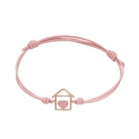 House And Pink Enamel Heart Cord Bracelet