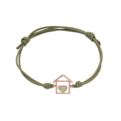 House And Green Enamel Heart Cord Bracelet