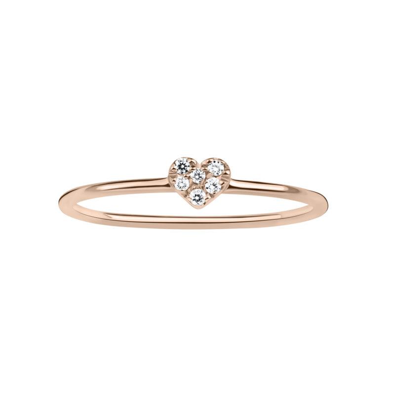 Anello con cuore pavé e diamanti bianchi - ct. 0,04